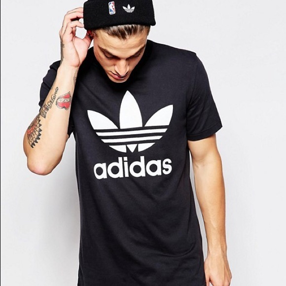 4add8dc19 adidas Mens Originals Trefoil Tee Black crew